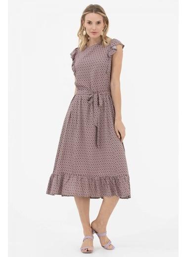 Sementa Karpuz Kol Kemer Detaylı Elbise - Taş Taş